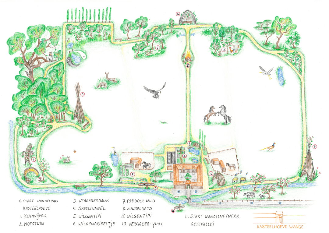 Kasteelhoeve Wange Getekende map domein Landen hotel b&b