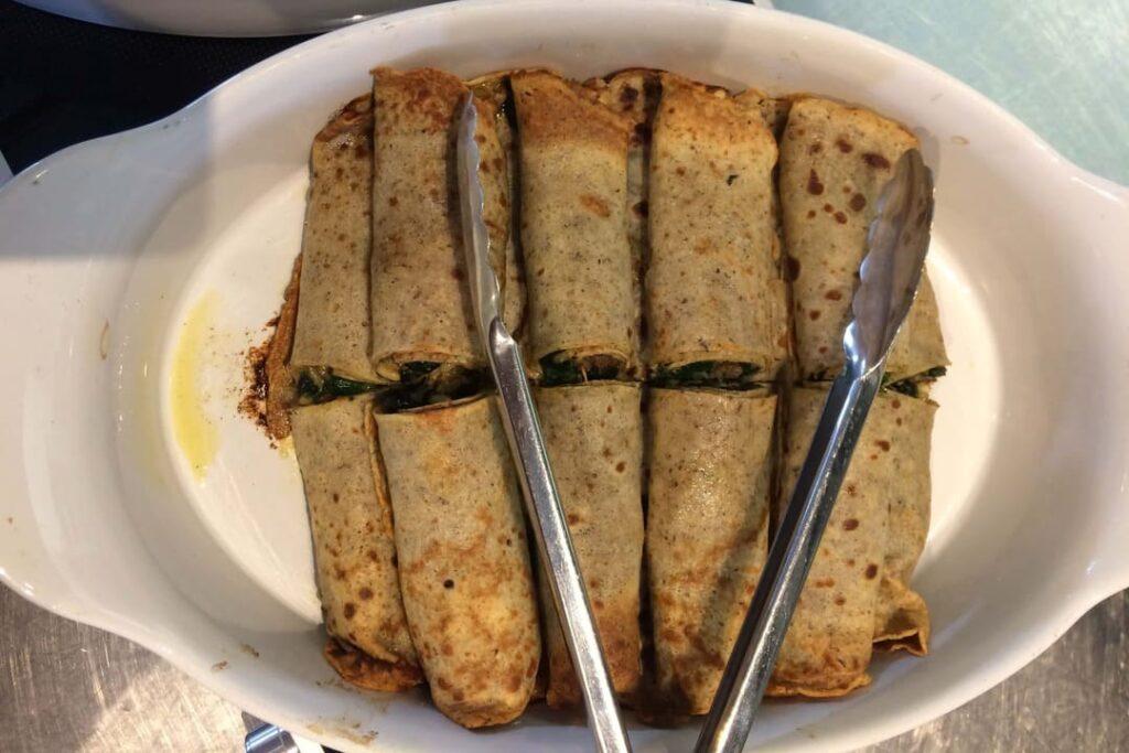 Kasteelhoeve Wange recepten hartige pannenkoekjes faciliteiten maaltijd pure keuken bio